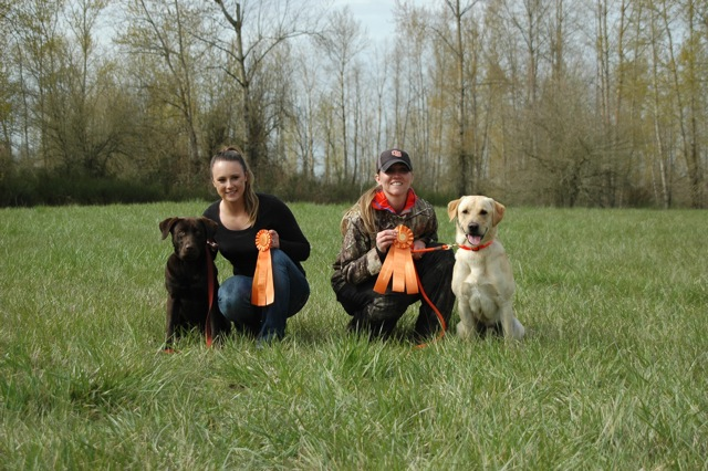 Gunner, Amanda, Jill & Moose after passing a Jr hunt-test